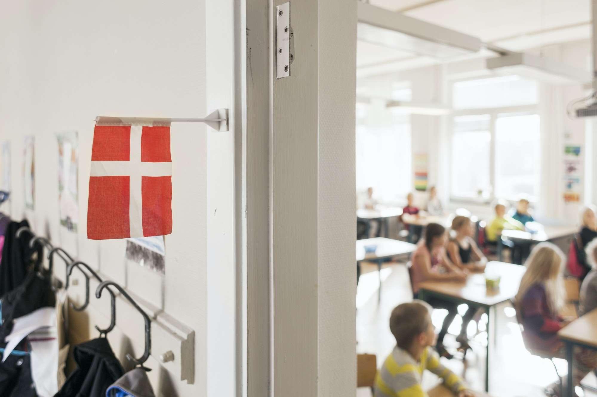 Denmark Flag outside classroom